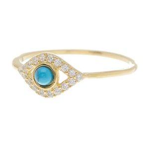14K Yellow Gold Turquoise & Swarovski Crystal Ring